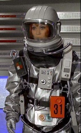 """Joan Harrington (Antonia Ellis) suited up in moonbase in the 1970 UFO episode """"The Responsibility Seat"""""""
