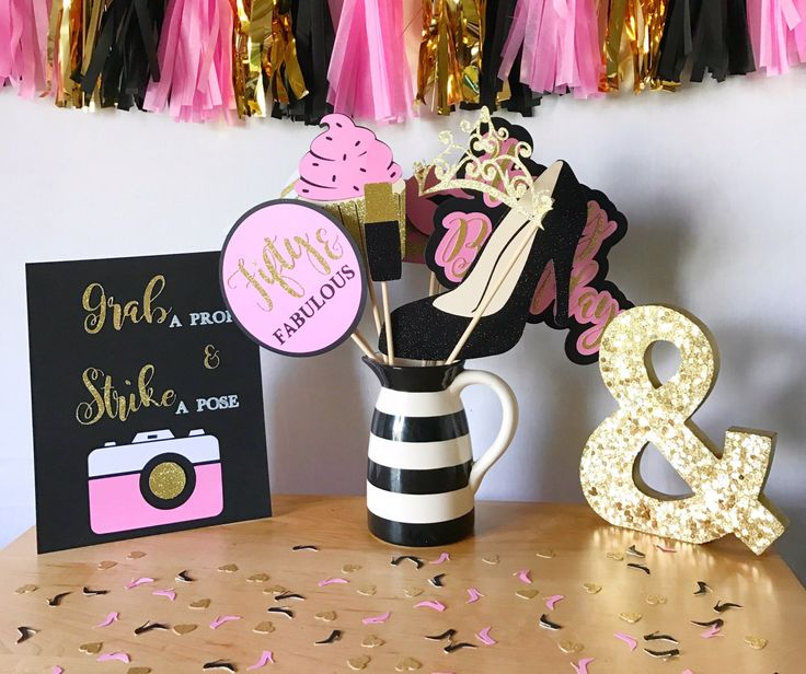 Fifty & Fabulous Birthday Photo Booth Props   Pink, Black, and Gold Photo Booth Props   Birthday Photo Booth Props by CMCraftStudio on Etsy