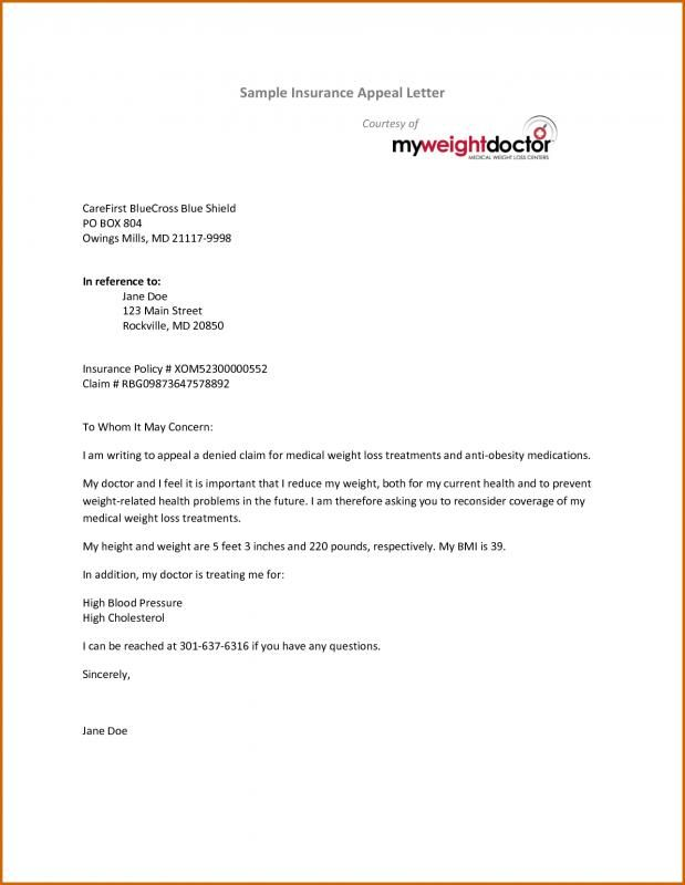 Insurance Appeal Letter Medical Insurance Lettering Anti Obesity