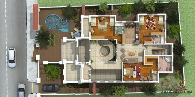 مقترح فيلا الاردن الزرقاء صممت من قبل مكتب Design Code الهندسي Arch