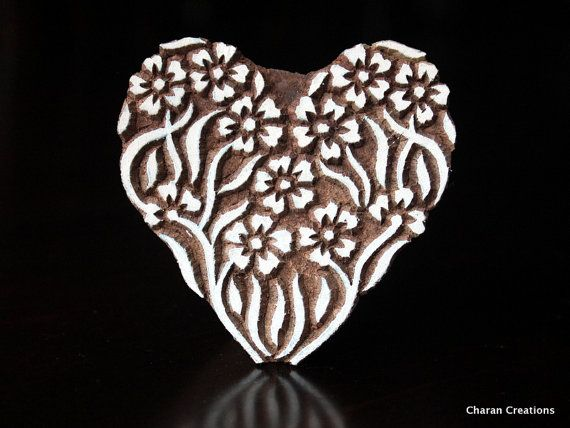 Pottery Stamps, Indian Wood Stamp, Textile Stamp, Wood Blocks, Tjaps, Printing Stamp- Floral Heart
