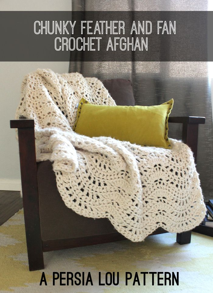 FREE Crochet Throw Blanket Patterns featured by top US crochet blog, Flamingo Toes: Chunky Feather and Fan Crochet Throw: Free Pattern by Persia Lou