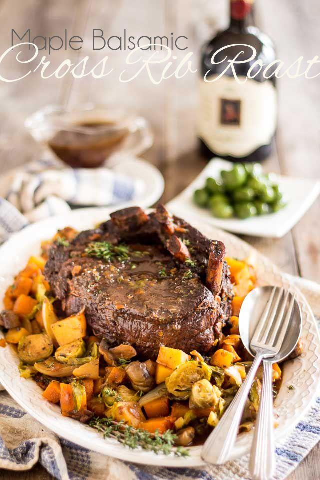 Maple Balsamic Braised Cross Rib Roast | thehealthyfoodie.com