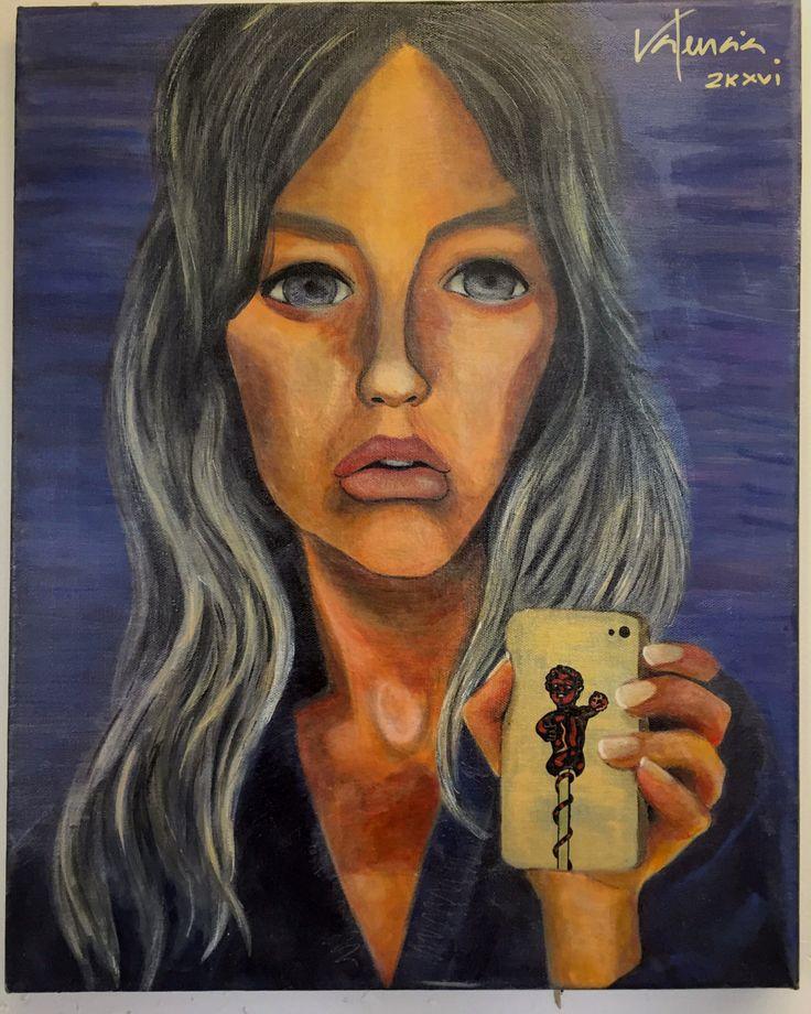"""Selfie by the Mirror"" by me, José Carlos Valencia. Acrylic on canvas #acrylic #art #portrait #selfie #urbanart"