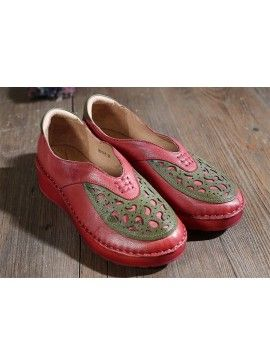 Woman's square toe flat heel sheepskin Flats hand-made shoes red HZM-M018-8