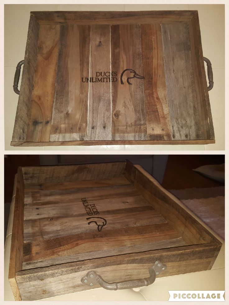 Rustic tray with iron handles from pallet wood.  Ducks Unlimited logo burned with wood burner.