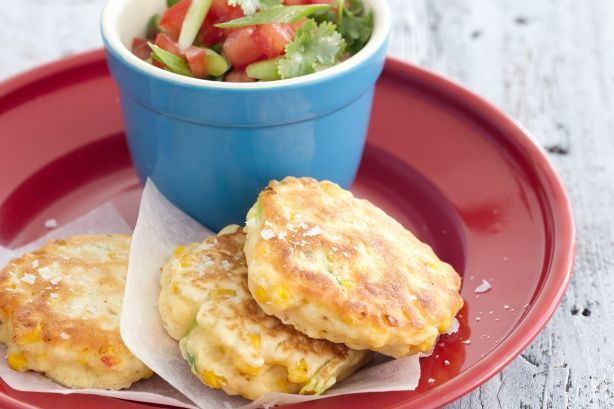 Keep a batch of these crunchy corn fritters in your freezer - they make delicious after school snacks or spicy party food.