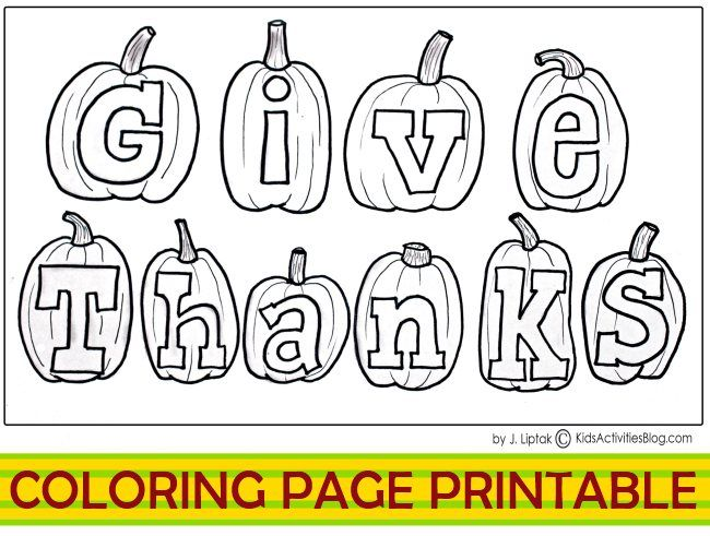Coloring page printable for thanksgiving - also a version with numbered list