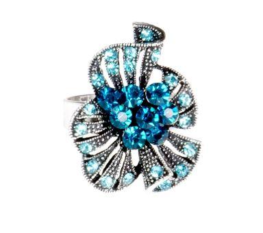 Pierścionek Vintage z Niebieskimi Kryształkami Aquamarine #ring #vintage #pierscionek