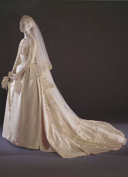 """""""#4 on the list is another princess's wedding dress: Grace Kelly's sublimely modest and sublimely sumptuous 1956 dress worn for her marriage on April 19 and designed by a Hollywood costume designer, Helen Rose"""". See link for more info"""