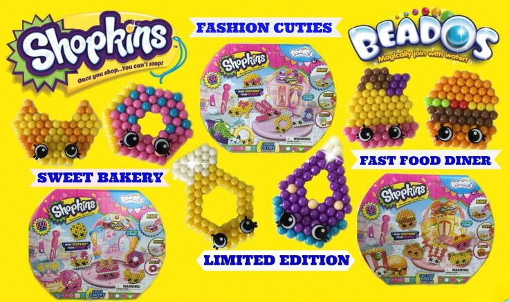 Shopkins Beados Sweet Bakery, Fashion Cuties, Fast Food Diner   Make Lim...