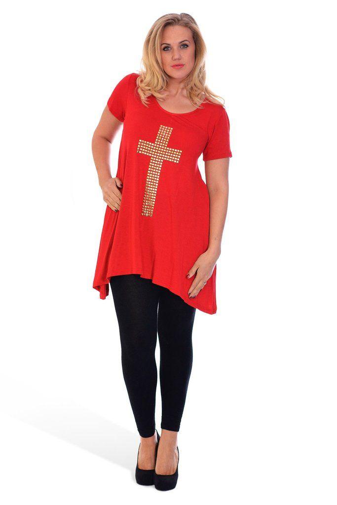 Stylish Gold Stud Cross Tunic Plus Size Top - Red