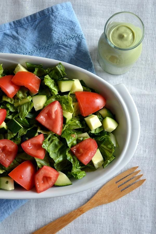 Creamy Basil Salad perfect for a summer picnic!
