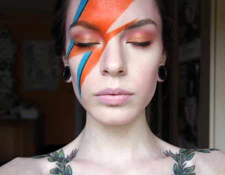 I like this look-- it still allows for eyebrows ;) Ziggy Stardust https://www.makeupbee.com/look_Ziggy-Stardust_42584
