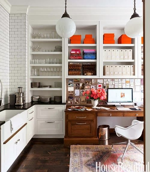 Twelve Chairs Boston: pic(k) of the week > fresh white cabinets, classic subway tile, vintage rug, pops of orange &  such a smart use of space!