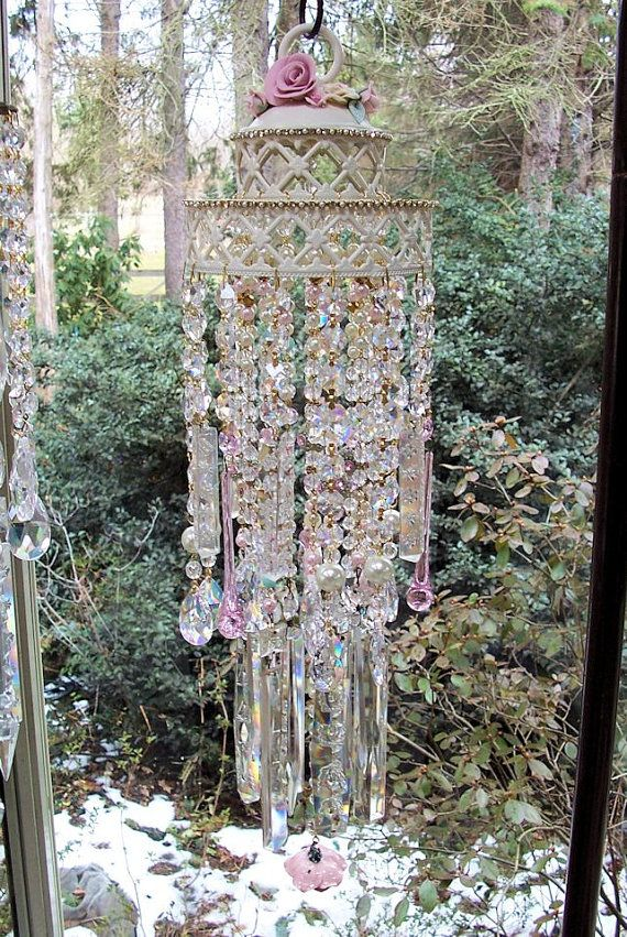 Rose Garden Antique Crystal Wind Chime by sheriscrystals on Etsy