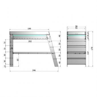 Hochbett JULI mit Schreibtisch und Regal, Holz Kiefer, grau, 90x200cm | günstig online kaufen | Dannenfelser Kindermöbel