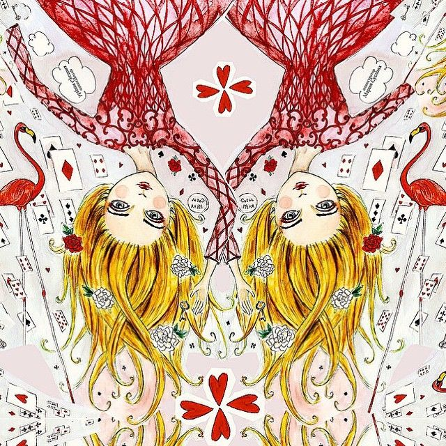 Alice in Valentino-land?Beautiful #illustration via @mashutkas