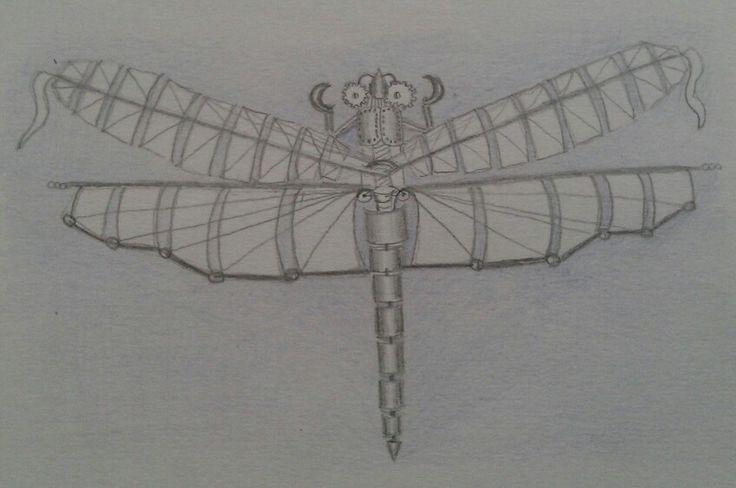 Steampunk dragonfly sketch