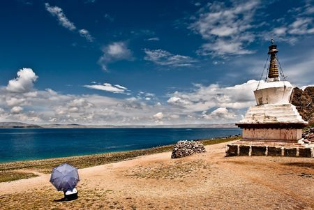 Large Stupas on the shore of Namtso Lake Photo by Nora de Angelli - www.noraphotos.com -- National Geographic Your Shot