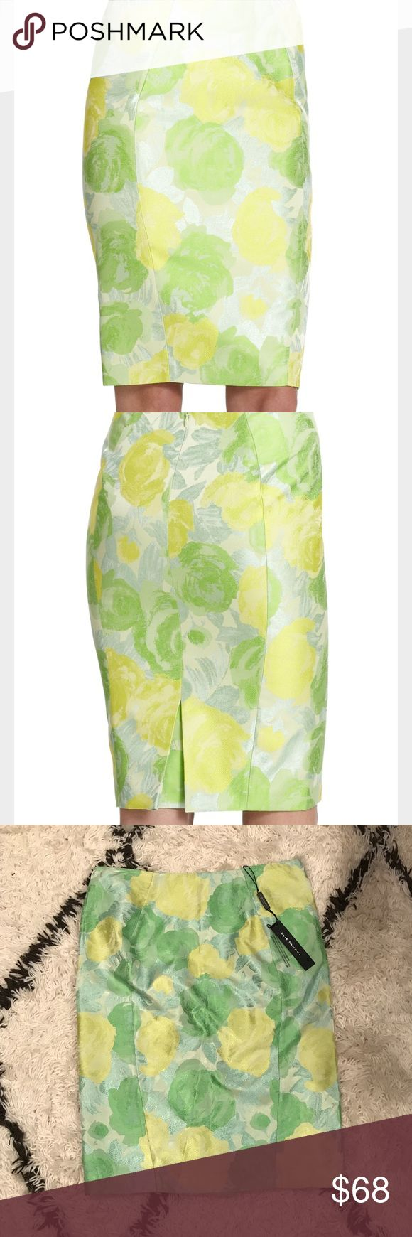 Elie Tahari Penelope Green Jacquard Floral Skirt Brand new with tags. Great for spring! 🌷 Elie Tahari Skirts Pencil