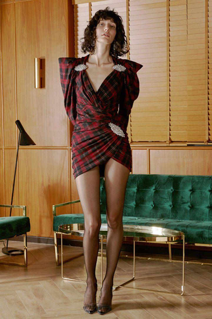 Red Tartan Sequins V-Neck Party Dress – CHICIDA