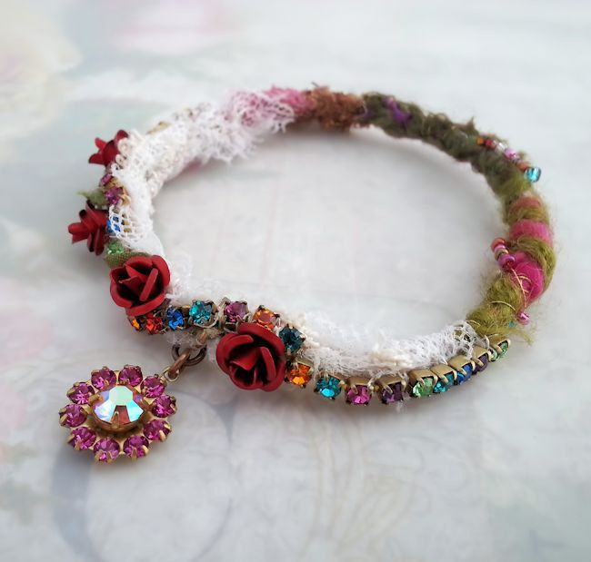 Hippie bangle bracelet with charm, Bohemian bracelet, flower bracelet Bohemain jewelry, Gypsy jewelry boho jewelry stackable bracelet bangle by LaCamelot on Etsy https://www.etsy.com/listing/228000591/hippie-bangle-bracelet-with-charm