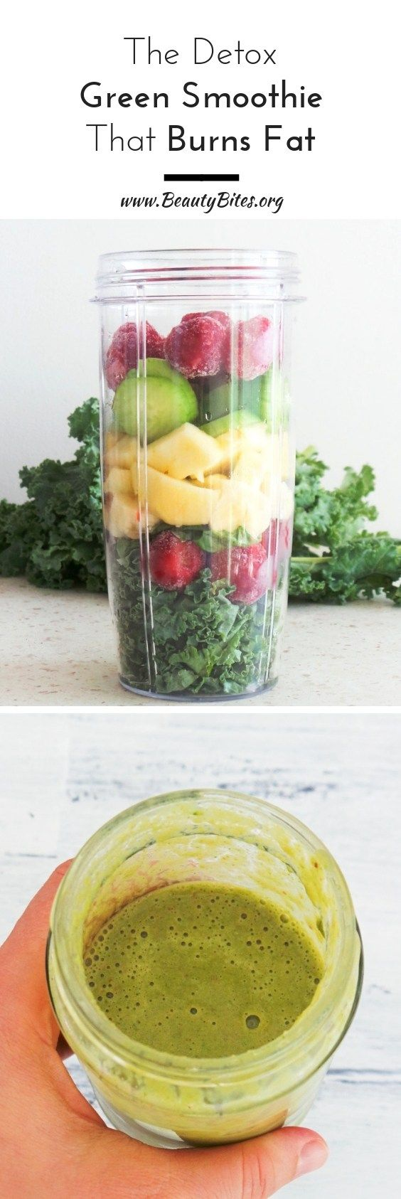 Kale Smoothie With Banana And Strawberries