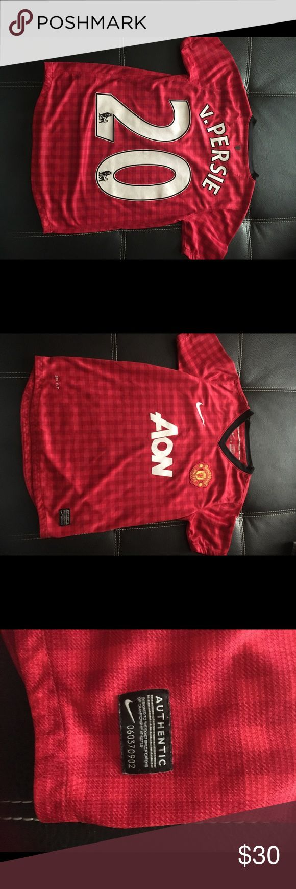 """Manchester United V. Perdue youth jersey Authentic Nike Manchester United V. Perdue youth jersey. #22 size M could probably fit a sx women. Dri-Fit supper nice. No rips no snags no holes no stains. 22"""" length 15"""" armpit to armpit Nike Other"""