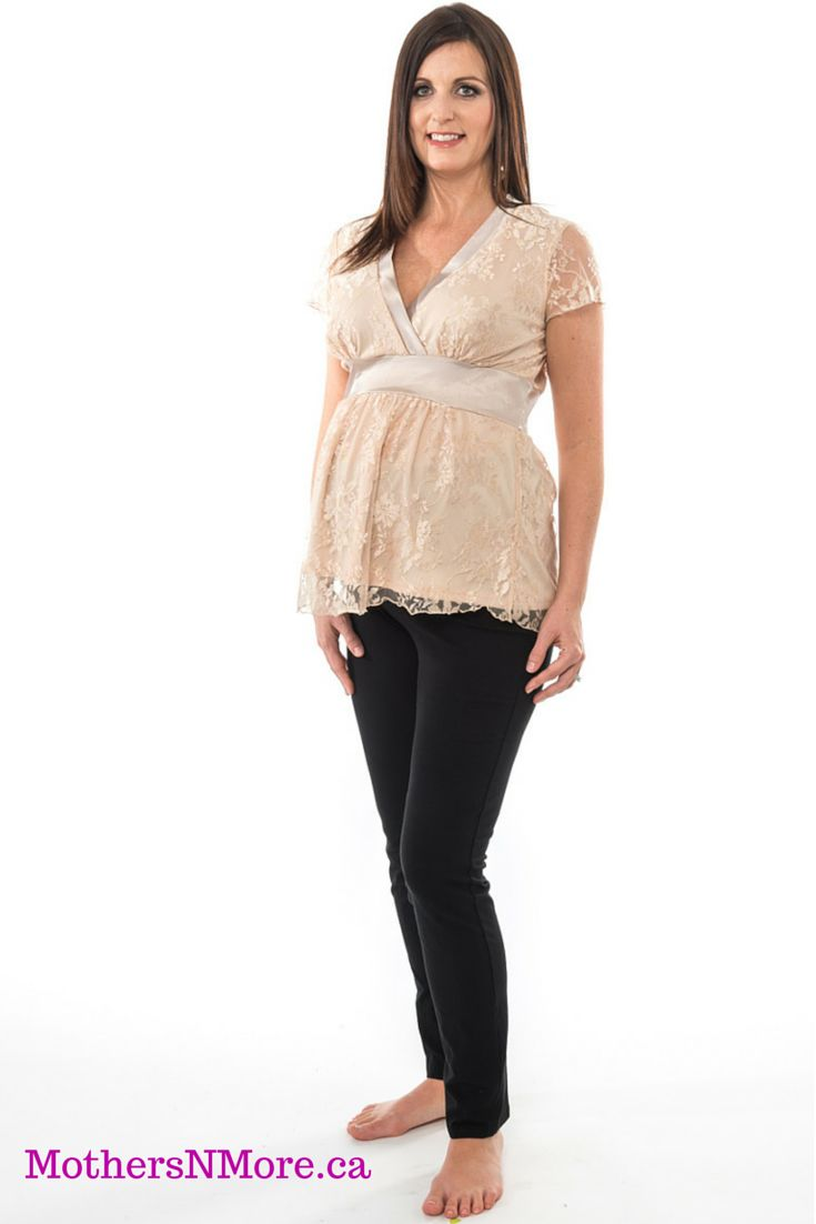 Lauren Kiyomi lace maternity top, with satin trim and band under the bust and cream lace overlay.  #AffordableMaternityWear #Maternity