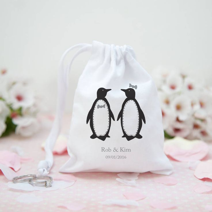 Personalised Penguin Pair Wedding Favour Bag @notonthehighst