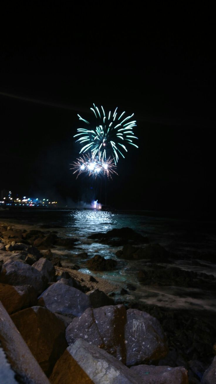 Fireworks in beach