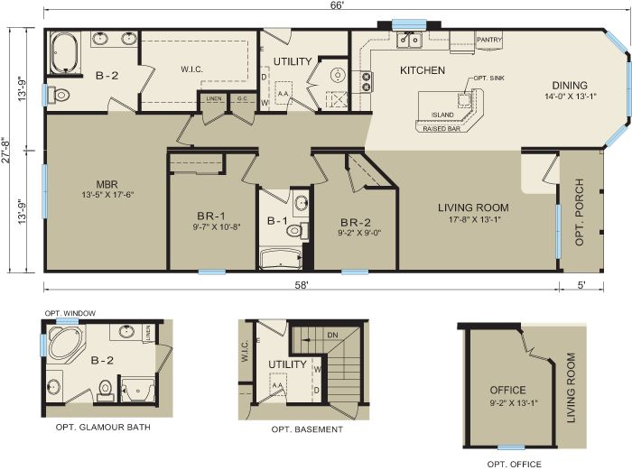 93 best floor plans mobile homes images on pinterest for Modular ranch plans
