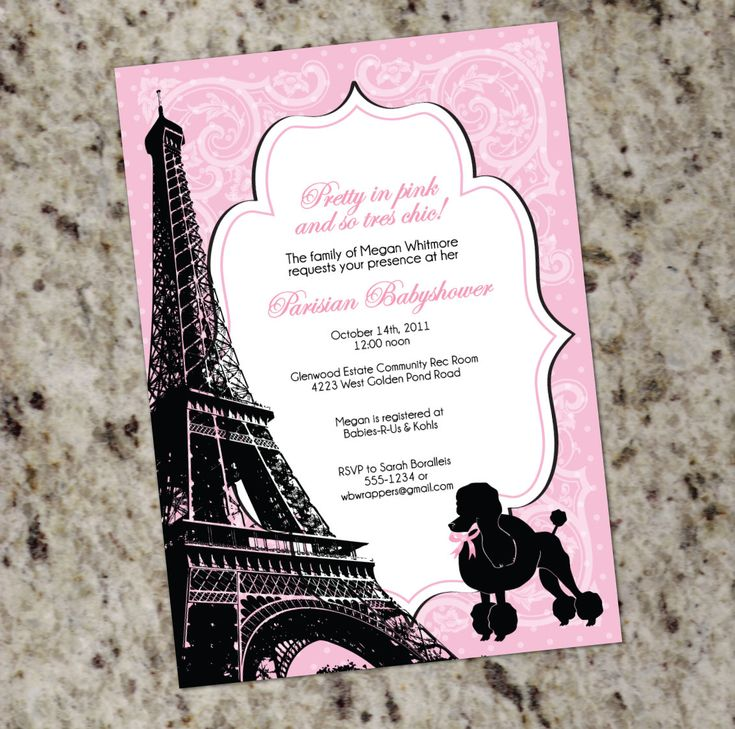 pink black and white bridal shower invitations%0A parisian themed bridal shower   PRETTY IN PINK  Paris themed Baby or Bridal  Shower Invitation