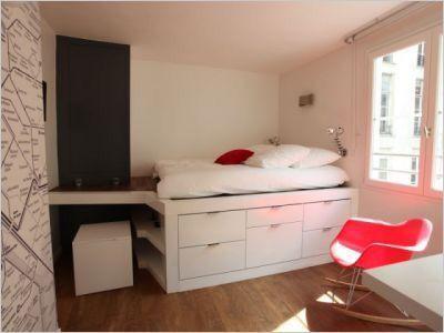 Lit estrade id e de rangement petits espaces chambre id e chambre dressing pinterest Lit estrade chambre studio