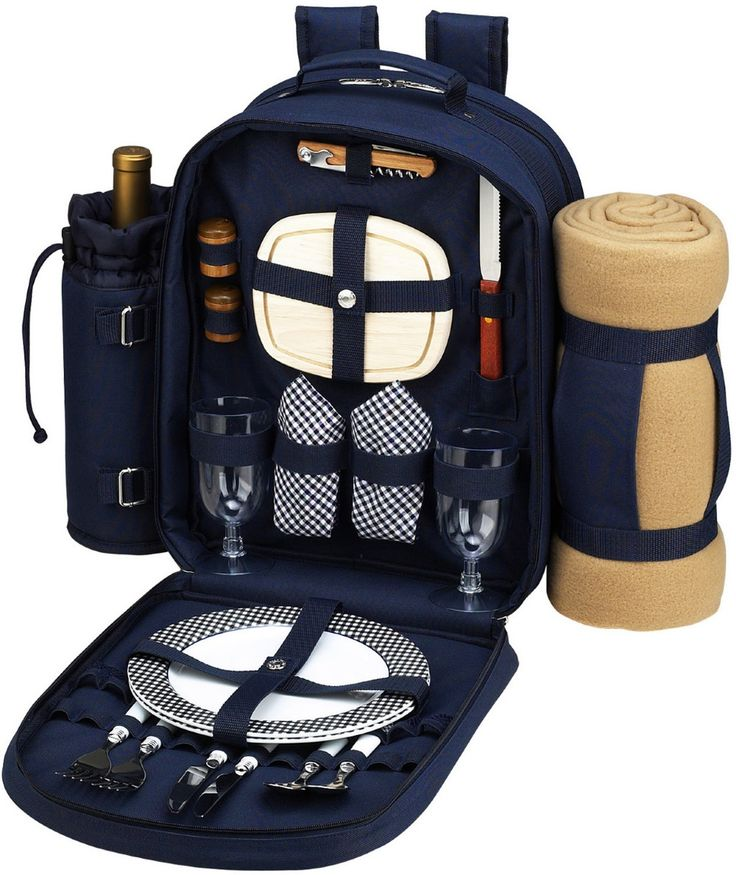 Picnic Backpack with Blanket for 2