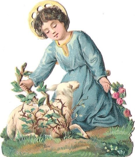 Oblaten Glanzbild scrap die cut  Ostern easter Oster Lamm holy lamb little Jesus