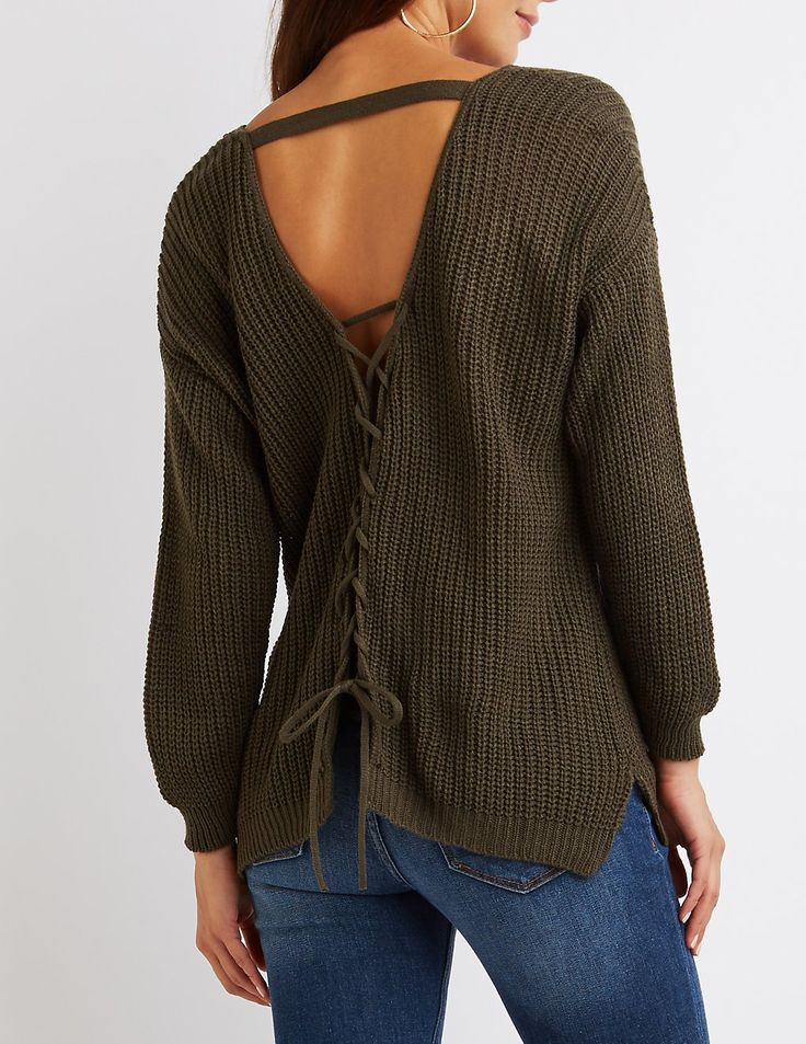 Lace-Up Open Back Sweater | Charlotte Russe