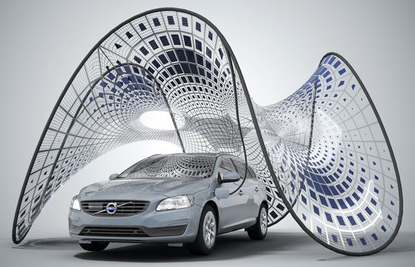 This portable sunshade charges the Volvo V60 hybrid electric-diesel car with solar power using photovoltaic panels. And it looks pretty neat, too: http://cnet.co/15O2brF
