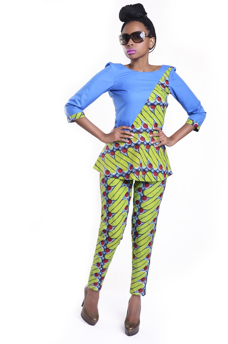 Peplum top and african print pants | Renaissance ...