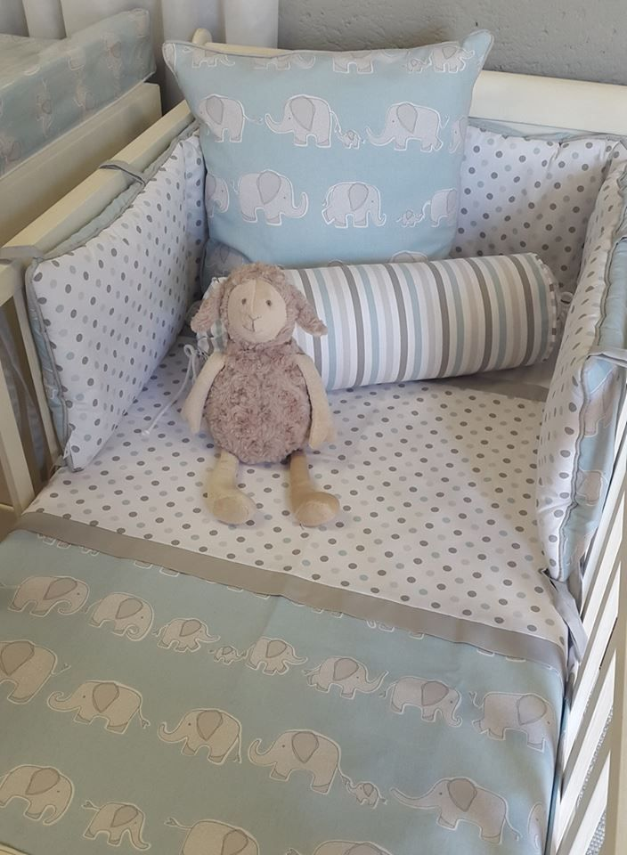 Our #SweetEllie combined with our #BabySpots and #BabyStripes is a perfect combination of #Blue and #Grey for any #BabyBoy's #ElephantTheme nursery!  #BabyBedding #BabyLinen