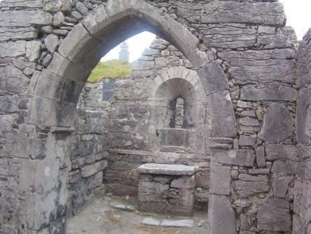 B And B Aran Islands Inis Mor The front wall and altar of St. Caomhan's church on Inis Oirr