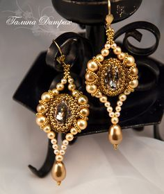 """Master Class: FREE Photo Tutorial for Beaded Earrings """"Venetian Mirrors"""" by…"""