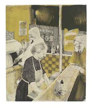 David Hockney. 'Fish and Chip Shop'. Lithograph on paper. 1954.