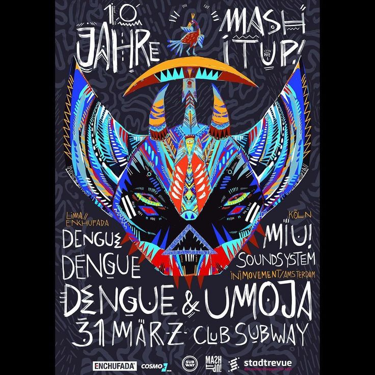 Super exited to play in Cologne for the first time at 10 Jahre Mash It Up! w/ Dengue Dengue Dengue & Umoja. Looking forward to see @UMOJA play :)  Amazing flyer by Ju mu    Super felices de tocar por primer vez en la fiesta Mash It Up! Cologne junto a Umoja!