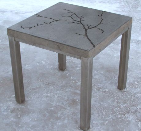 DIY: Concrete table. so doing this! add leaves and other nature stuff before pouring the concrete for added texture. Love. love...