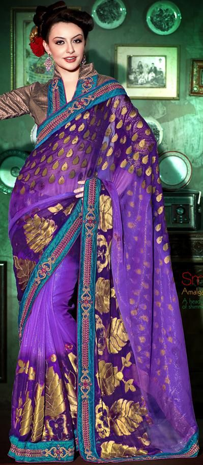 $100.21 Purple Banarasi and Shimmer Silk Saree 20809 With Unstitched Blouse