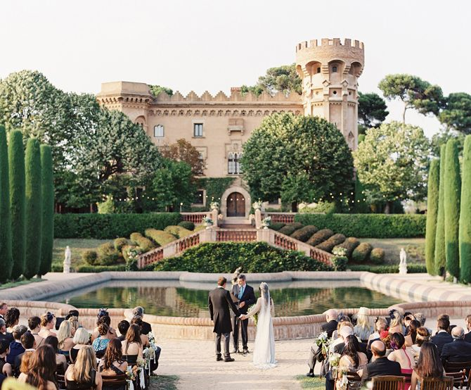 Elegant Barcelona Destination Castle Wedding via oncewed.com - Loved by European City Weddings www.europeancityweddings.com