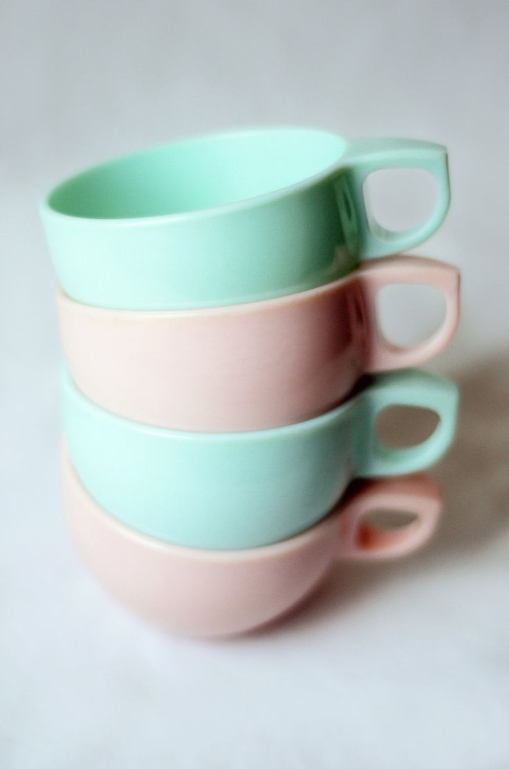 Watertown Lifetime Melmac Cups in Mint Green and Light Pink.
