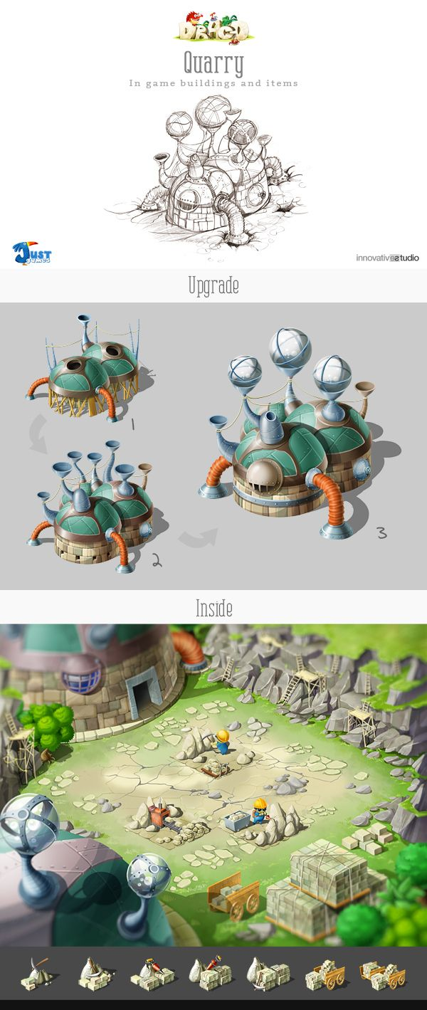 Quarry: In game buildings and items by Just Games, via Behance